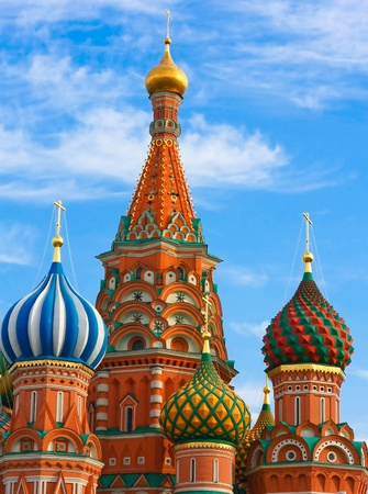Cupolas of Saint Basil's Cathedral on Red square, Moscow, Russia Stock Photo - 10489134