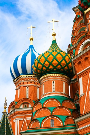 Cupolas of Saint Basil's Cathedral on Red square, Moscow, Russia Stock Photo - 10489295
