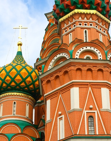 Domes of the famous Head of St. Basil's Cathedral on Red square, Moscow, Russia Stock Photo - 10489241