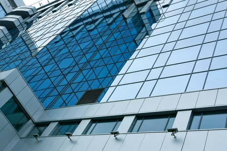 underside: contemporary design of glass skyscrapers, business background Stock Photo