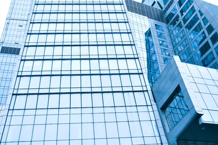 transparent glass wall of office building photo