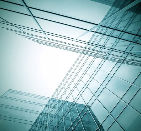 pane: contemporary design of glass skyscrapers, business background Stock Photo