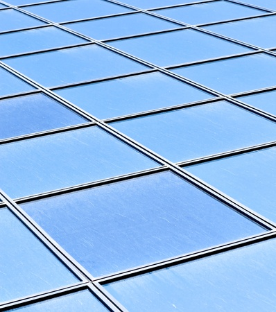 contemporary striped blue texture of glass architecture photo