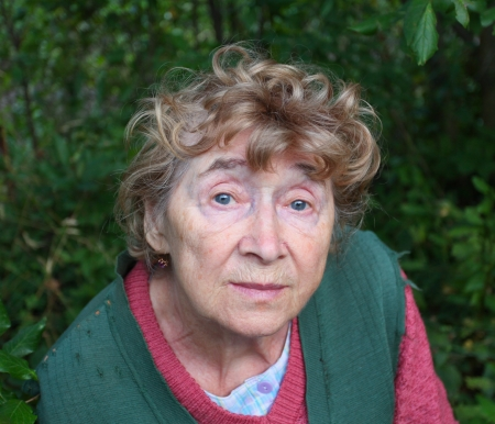 portrait of a nice aged woman at nature  photo