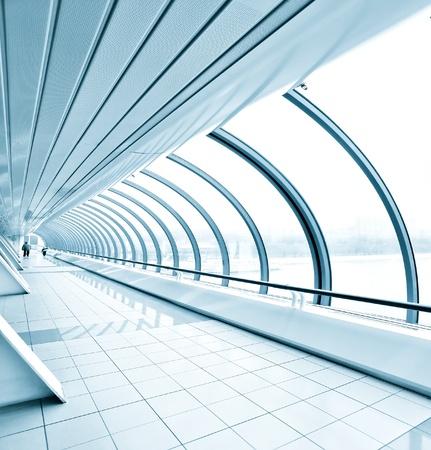 shiny floor: blue transparent hallway Stock Photo