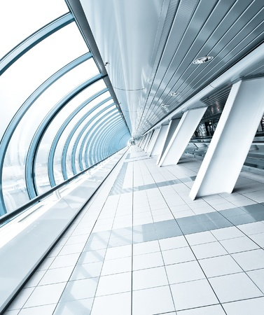 ceiling tile: wide spacious corridor in contemporary airport walkway