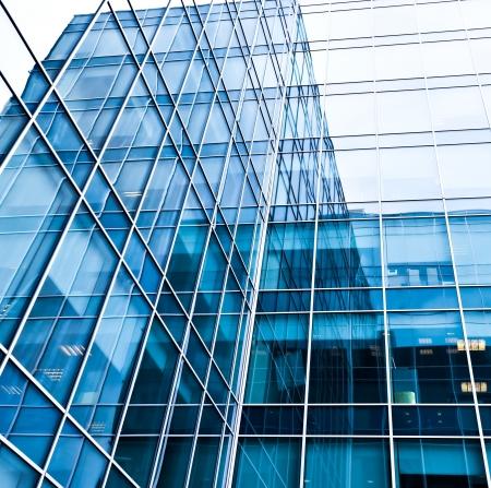 blaue Textur der modernen Glas-Wand