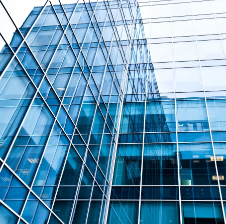 construction management: blue texture of modern glass wall