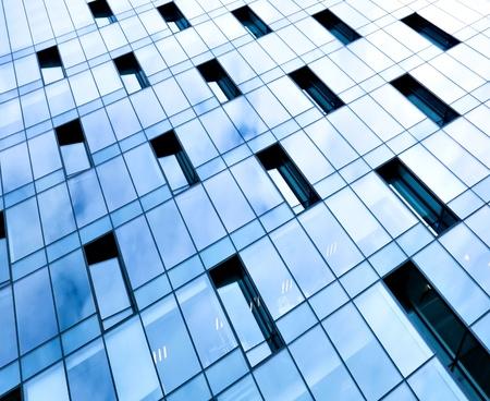 window pane: glass pane of downtown property in futuristic modern style