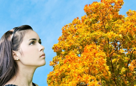 leafage: beautiful woman looking to vivid autumnal leafage over blue sky in sunny perfect day