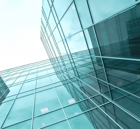 glass building: turquoise glass high-rise corporate building