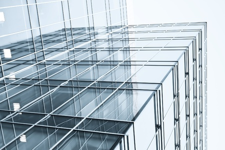 details: transparent glass wall with blank placard of skyscraper Stock Photo