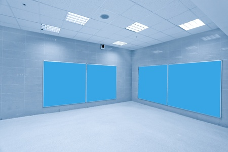 modern hall with blue placards photo
