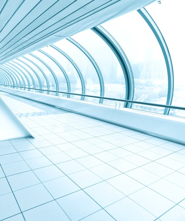 vanishing: business passage, vanishing walkway with transparent wall Stock Photo