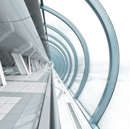 hemispherical: hemispherical airport interior in futuristic style