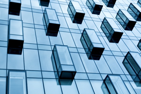 blue glass balconies of corporate building Stock Photo
