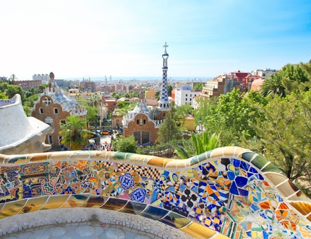 guell: BARCELONA, SPAIN - JULY 25: The famous Park Guell on July 25, 2011 in Barcelona, Spain. Park Guell is the famous park designed by Antoni Gaudi and built in the years 1900 to 1914 Editorial
