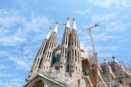 BARCELONA SPAIN - JULY 25: La Sagrada Familia, the unrealistic cathedral designed by Gaudi, which is being build since 19 March 1882 with the donations of people, on July 25, 2011 in Barcelona, Spain