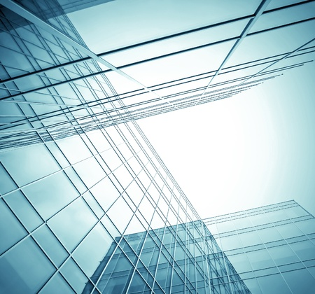 edifice: contemporary design of glass skyscrapers, business background Stock Photo