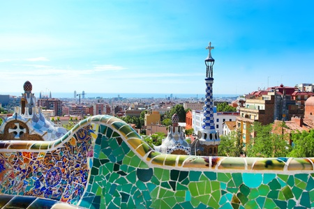 BARCELONA, SPAIN - JULY 25: The famous Park Guell on July 25, 2011 in Barcelona, Spain. Park Guell is the famous park designed by Antoni Gaudi and built in the years 1900 to 1914