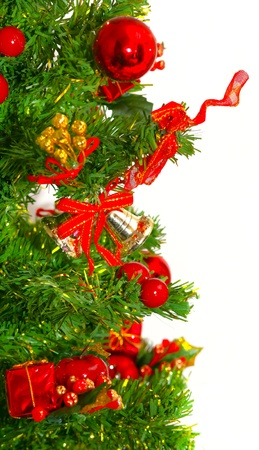 Christmas tree with colorful bauble hanging photo