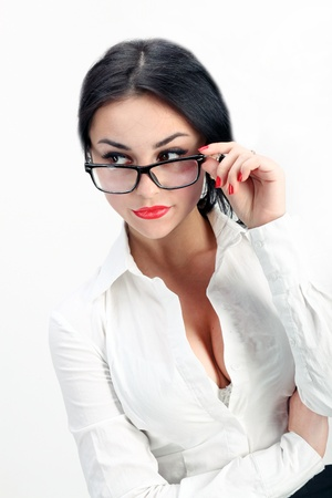 closeup of sexy and confident business woman