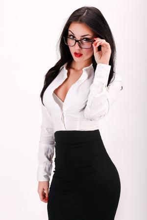secretaria: Retrato de mujer de negocios sexy y segura Foto de archivo
