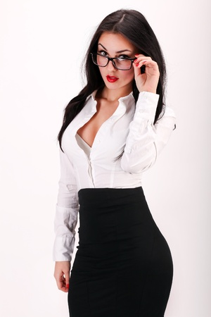 segretaria: Ritratto di sexy e fiducioso business woman