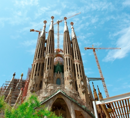 unrealistic: BARCELONA SPAIN - JULY 25   La Sagrada Familia , the unrealistic cathedral designed by Gaudi, which is being build since 19 March 1882 with the donations of people, on July 25, 2011 in Barcelona, Spain