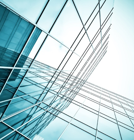 building blocks business: underside view to steel glass high rise building