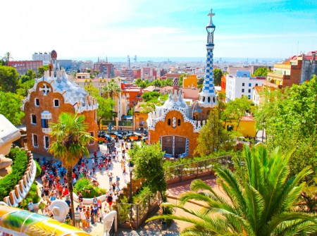 The Famous Summer Park Guell over bright blue sky in Barcelona, Spain Stock Photo