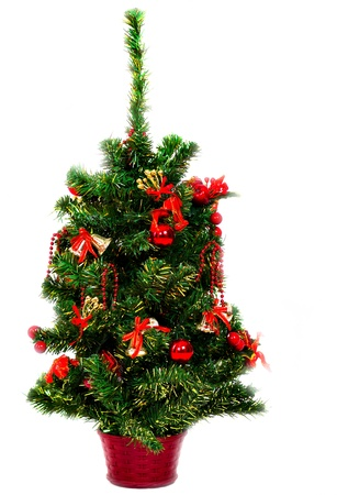 Beautiful Christmas tree with colorful bright bauble hanging Stock Photo