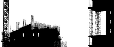 construction equipment and elements of a building under construction photo