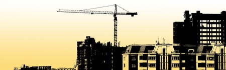 construction equipment and elements of a building under construction Standard-Bild