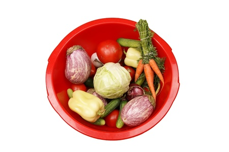 Fresh vegetables on white background photo