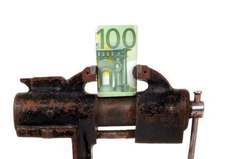 Allegory of the global financial crisis - EURO in the grip of economic crisis, on a white background photo