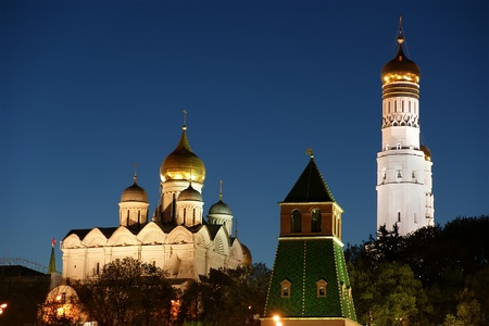 Russia, Moscow. Night view of the Kremlin photo