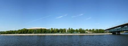 Panoramic views of the Olympic Stadium Luzhniki and Metro Bridge, Moscow, Russia
