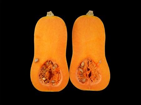 stillife: Stillife with a fresh pumpkin on black background