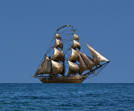 brigantine: Sailing ship  under full sail - Russian 18-gun brig Mercury of Black Sea Fleet