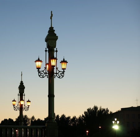 streetlamp: Street light near the Christ the Savior Cathedral, Moscow, Russia Stock Photo