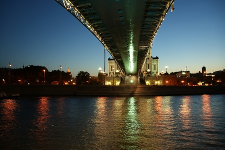 crist: Night view of the Moscow River, Patriarshy Bridge, Christ the Savior Cathedral, Moscow, Russia