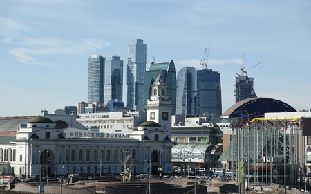 Kievsky train station and international business centre as seen from the Moskva River embankment. Moscow, Russia