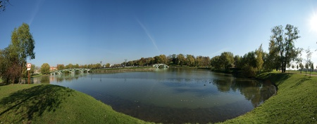 tsaritsino: Tsaritsino museum and reserve in Moscow. The bridge across the pond Stock Photo