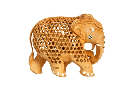 Traditional Indian souvenir figurine of an elephant isolated on a white background photo