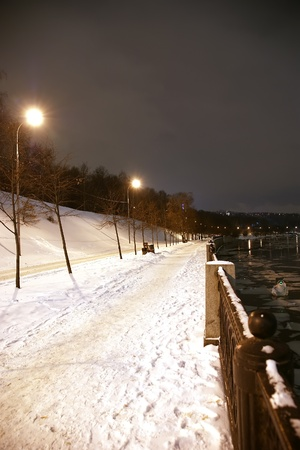 Moscow, Russia, the embankment of the river winter night photo