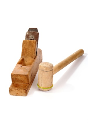 Old wooden planer and Mallet close-up, white background Stock Photo - 11320236