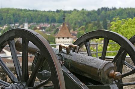 firepower: Medieval cannon to fire nuclei. Switzerland, city Stein am Rheine Stock Photo