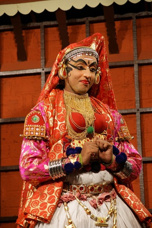 tradional: Kathakali tradional dance actor. Kochi (Cochin), India