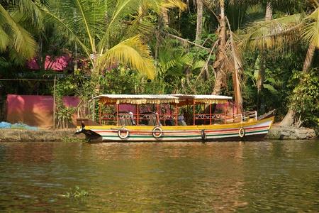 periyar: Boat on forest lake, Periyar National Park, Kerala, India